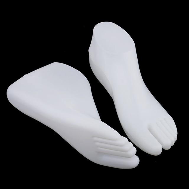 1 coppia di Piedi Femminili Mannequin Perizoma Stile Del Piede Modello per Scarpe Sandalo Calzino Gioielli Display-Bianco