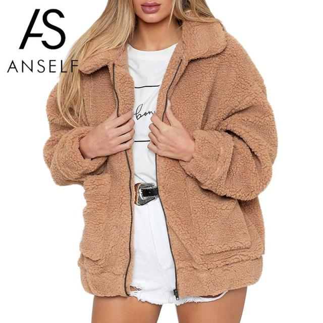 Women Faux Fur Jacket Fluffy Teddy Bear Fleece Fake Fur Coat Zip Pocket Long Sleeve Casual Streetwear Winter Manteau Femme Hiver