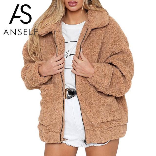 8ca59a1786a1 Women Faux Fur Jacket Fluffy Teddy Bear Fleece Fake Fur Coat Zip Pocket  Long Sleeve Casual