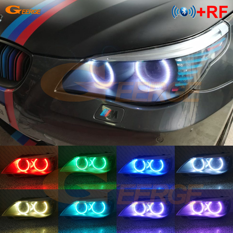 Bmw E60 E61 LCI 525i 528i 530i 535i 545i 550i M5 キセノンヘッドライト RF Bluetooth コントローラマルチカラー RGB led エンジェル · アイズキット  グループ上の 自動車 &バイク からの カーライトの組み立て の中 1