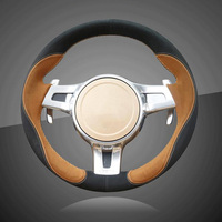 Hand Stitched Braid Car Steering Wheel Cover for Porsche Cayenne Panamera 2012 2013 2014 Auto Braid On The Steering Wheel Cover