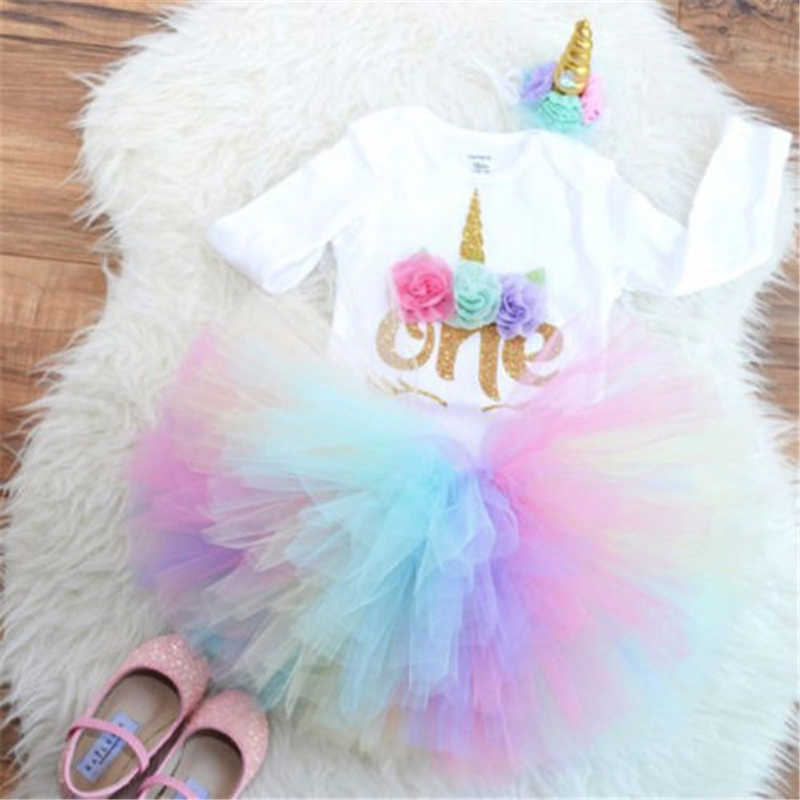 cf0f36023ddd UK 3PCS Baby Girl 1st Birthday Outfit Party Unicorn Romper Cake Smash Tutu  Dress New Baby