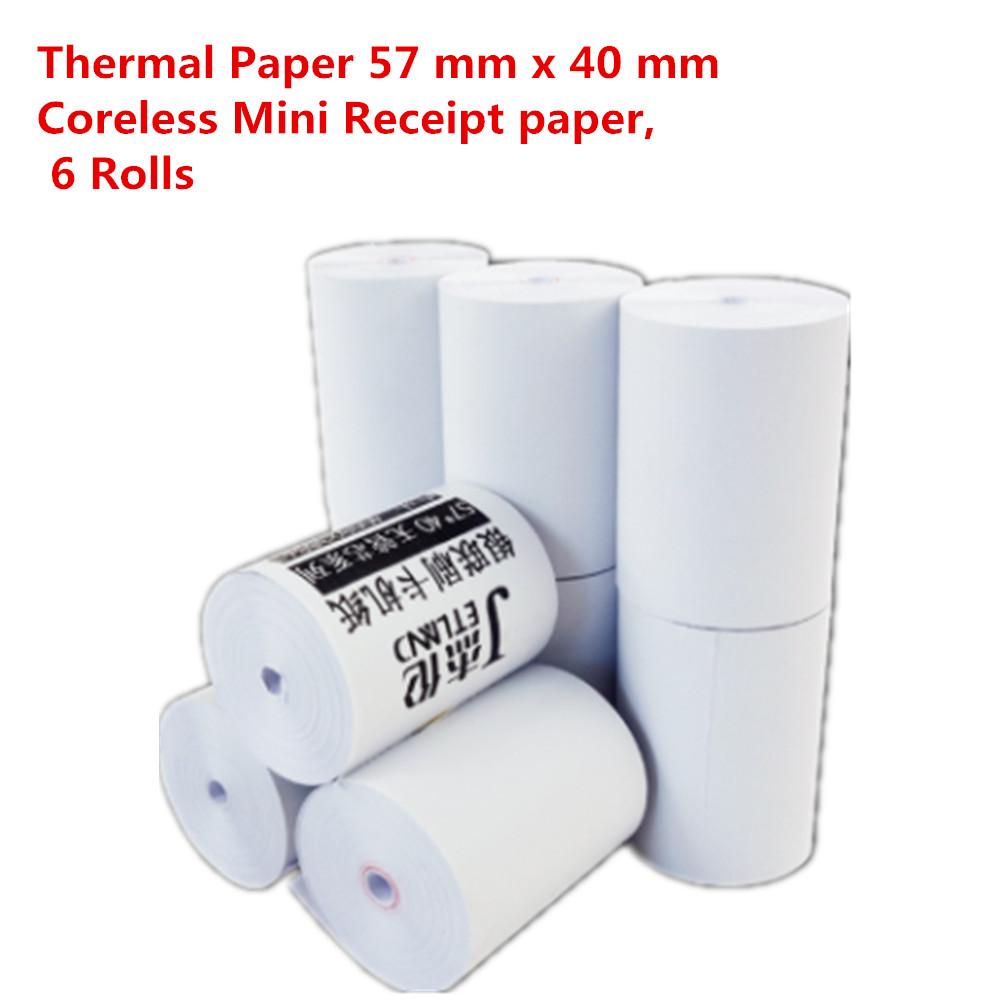Free Shipping Thermal Paper 57 Mm X 40 Mm Coreless Mini Receipt Paper, 6 Rolls