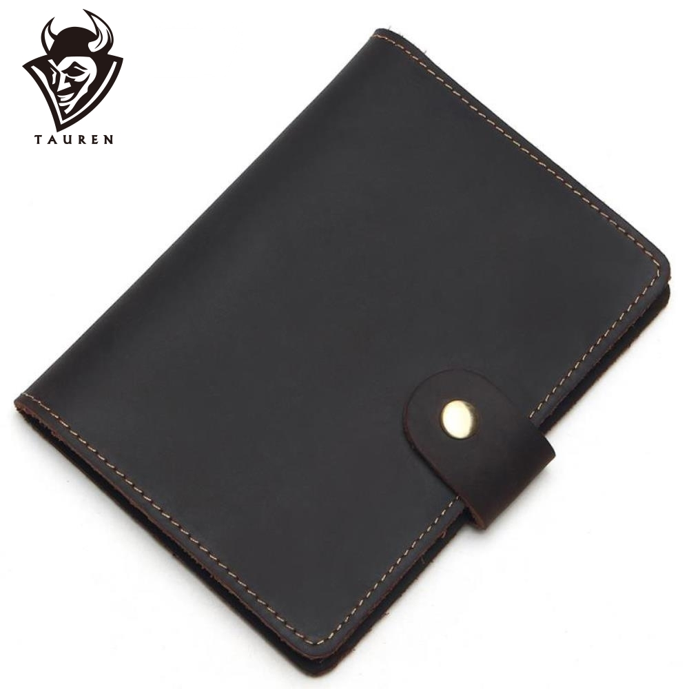 Tauren Vintage Natural Crazy Horse Passport Cover Leather 100 Real Leather Drop Ship Men Genuine Leather Passport Case in Wallets from Luggage Bags