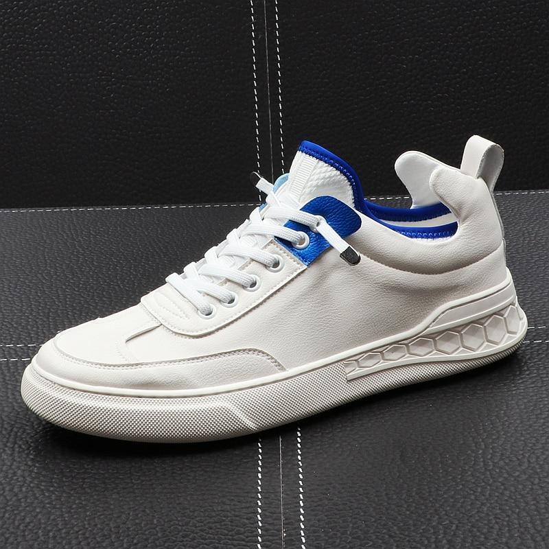 CuddlyIIPanda nueva llegada 2019 hombres zapatos casuales Primavera Verano otoño zapatos blancos de cuero transpirables cómodos zapatillas de ocio-in Mocasines from zapatos    1