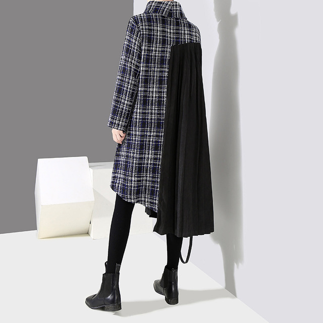 [EAM] 2019 New Spring  Winter High Collar Long Sleeve Black Plaid Printed Side Pleated Stitch Loose Dress Women Fashion JK830 3