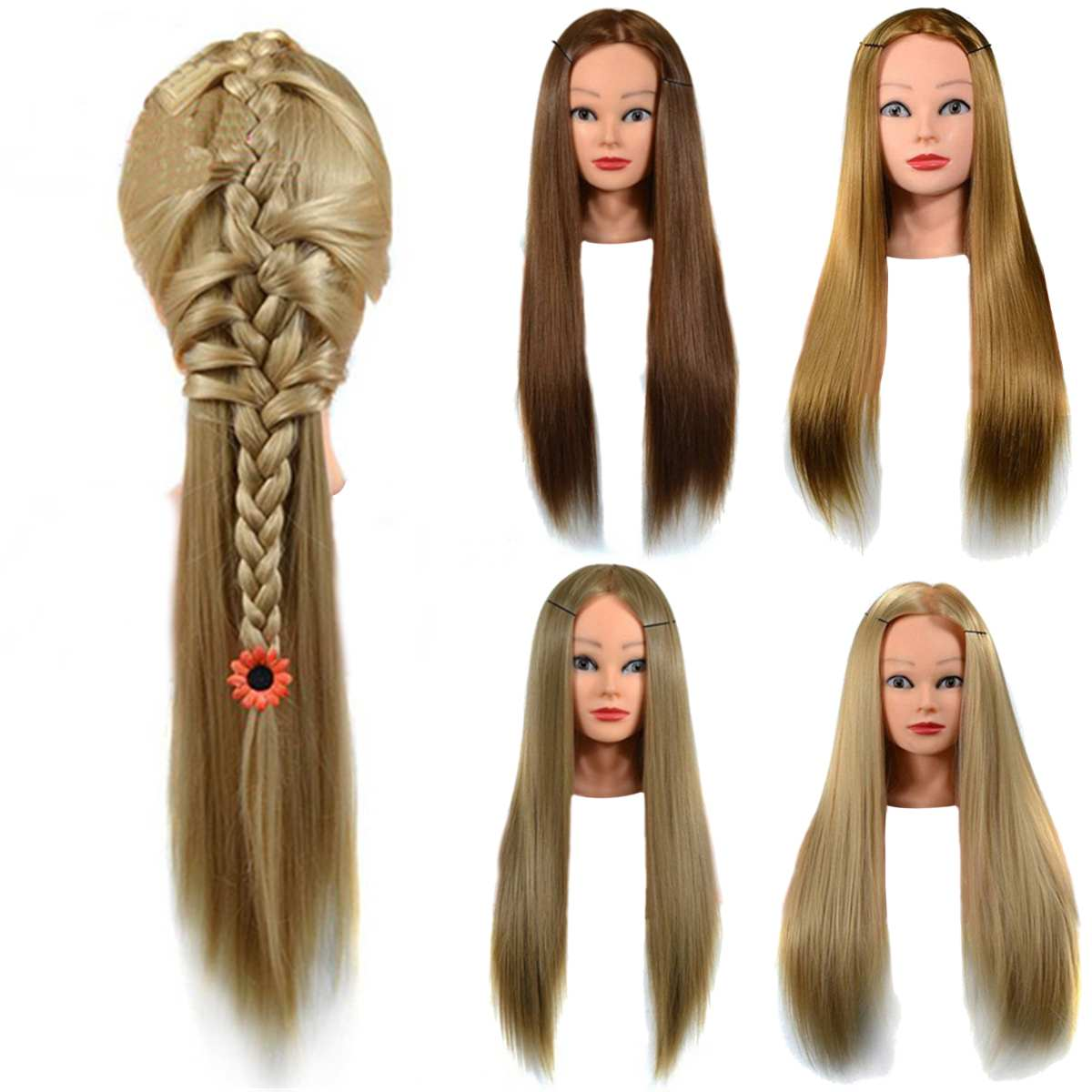 24 Inch Hair Mannequin Salon Students Hairdressing Practice Cutting Braiding Training Head Mannequin Model Hairdresser Styling