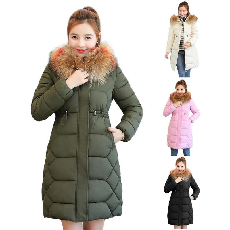 Winter Fashion Women Fur Collar Long Down Jacket Thicken Coat Hooded Parkas
