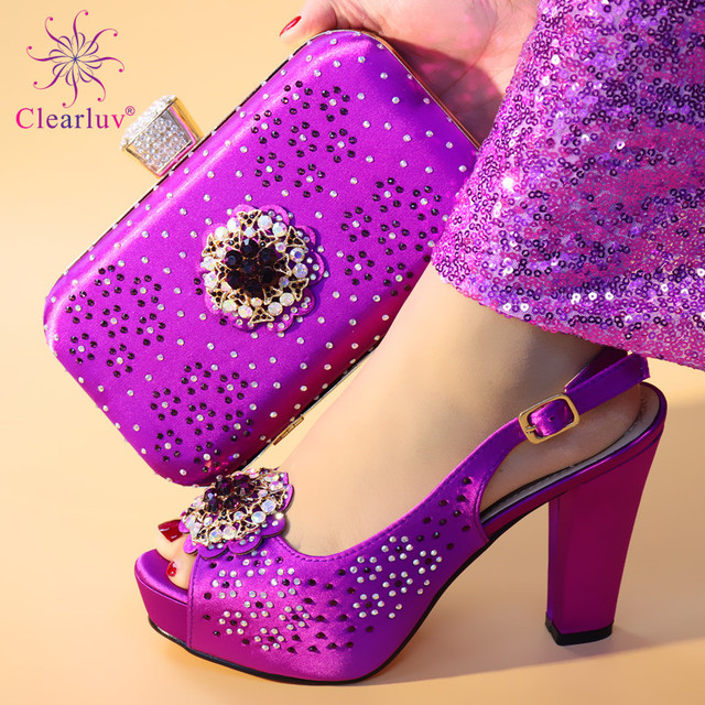 New Arrival Purple Color Italian Shoes with Matching Bags for Women Shoes and Bag Set African Sets 2019 Ladies Shoes and Bag Set