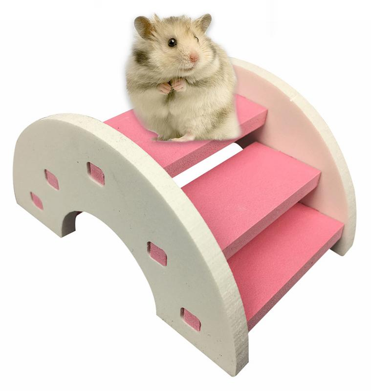 Cute Hamster Ladder Rainbow Bridge Pet Toys Wooden Bridge Hanging Toys Small Animals Cage Accessories Pet Product Quick Delivery