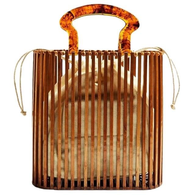 Fashion Women Bags Designer Acrylic Handle Woven Bag Bamboo Bag Stitching Hollow Bag Clutch Bali Beach Holiday Handbag 1