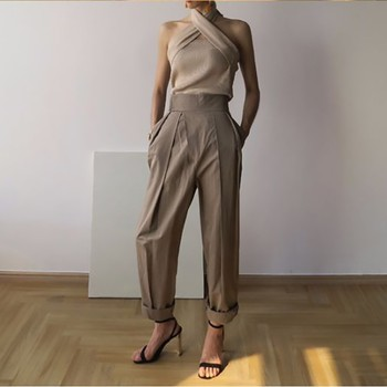 TWOTWINSTYLE Solid Sleeveless Sexy Women Sweater Halter Off Shoulder Slim Knitted Tops Female Fashion Summer 2019 New Tide 2