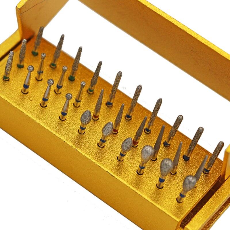 30pcs Dental Diamond Buffing High Speed Bur Drill Disinfection Drill Holder Teeth Polishing Drilll Aluminum Block Holder in Teeth Whitening from Beauty Health