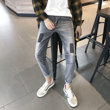 Fashion New Autumn Mens Denim Trousers 28-36 Casual Personality Temperament Simple Youth Wild Cotton Solid Color Slim Popular