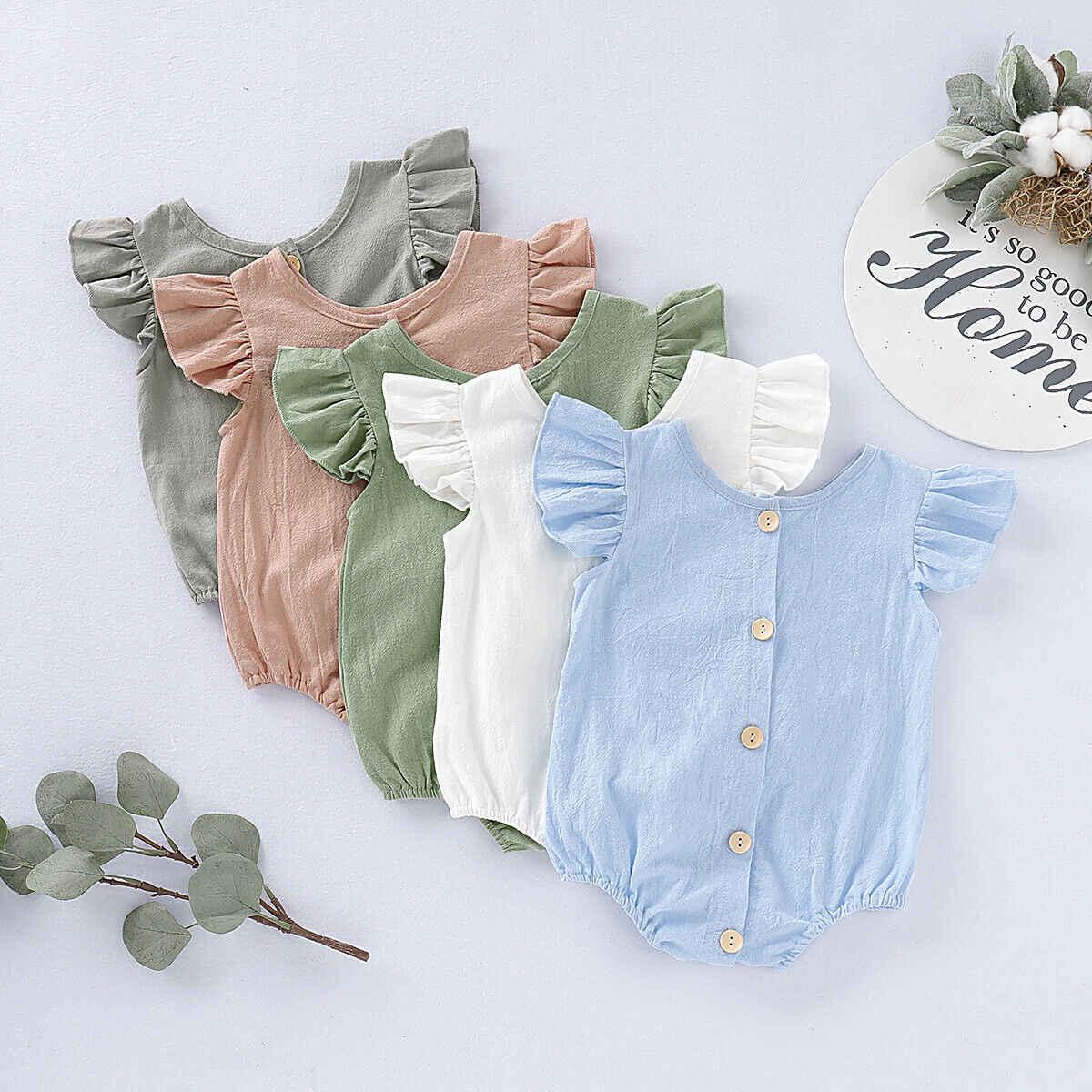 2019 летняя одежда для малышей милые младенцы обувь мальчиков Корректирующие боди женщин однотонная одежда оборками Fly короткий рукав