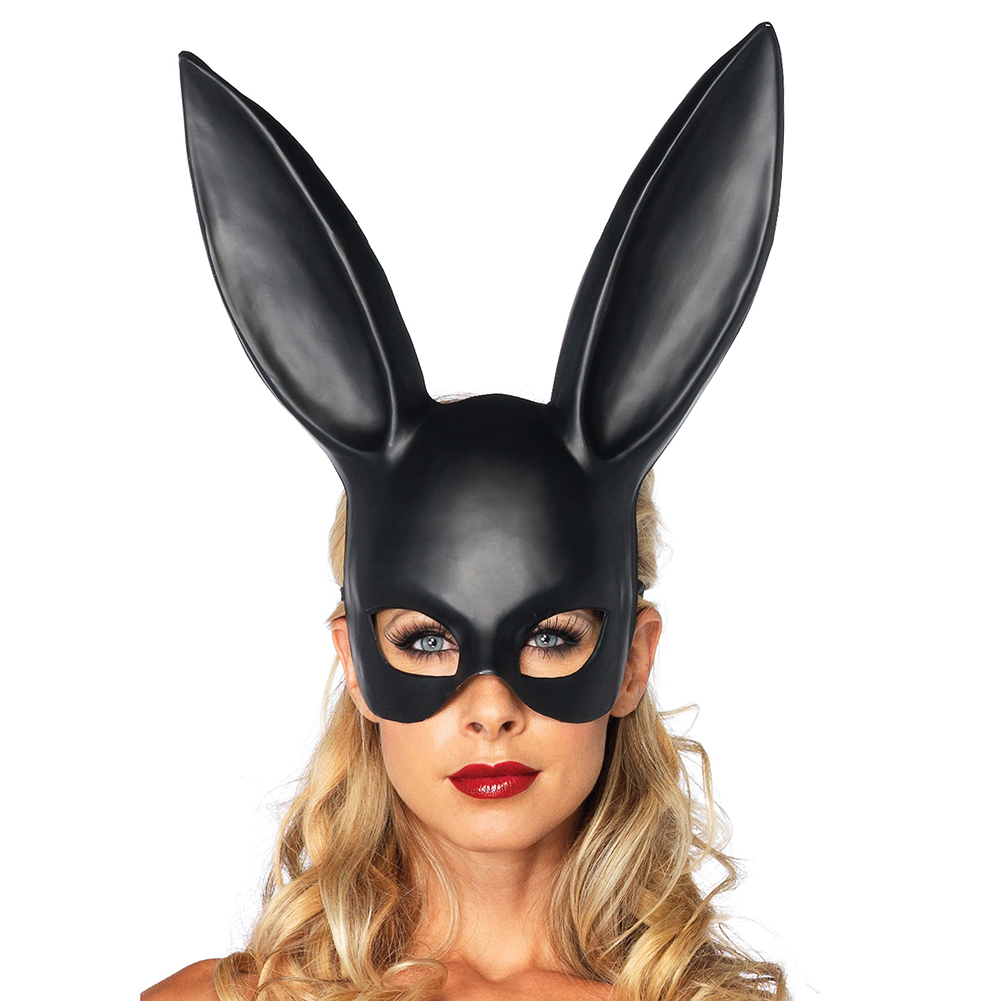1pc Masquerade Sexy Bunny Girl Face Mask Rabbit Long Ears Bondage Mask Prom Party Event Costume Cosplay Sex Toy Black Color