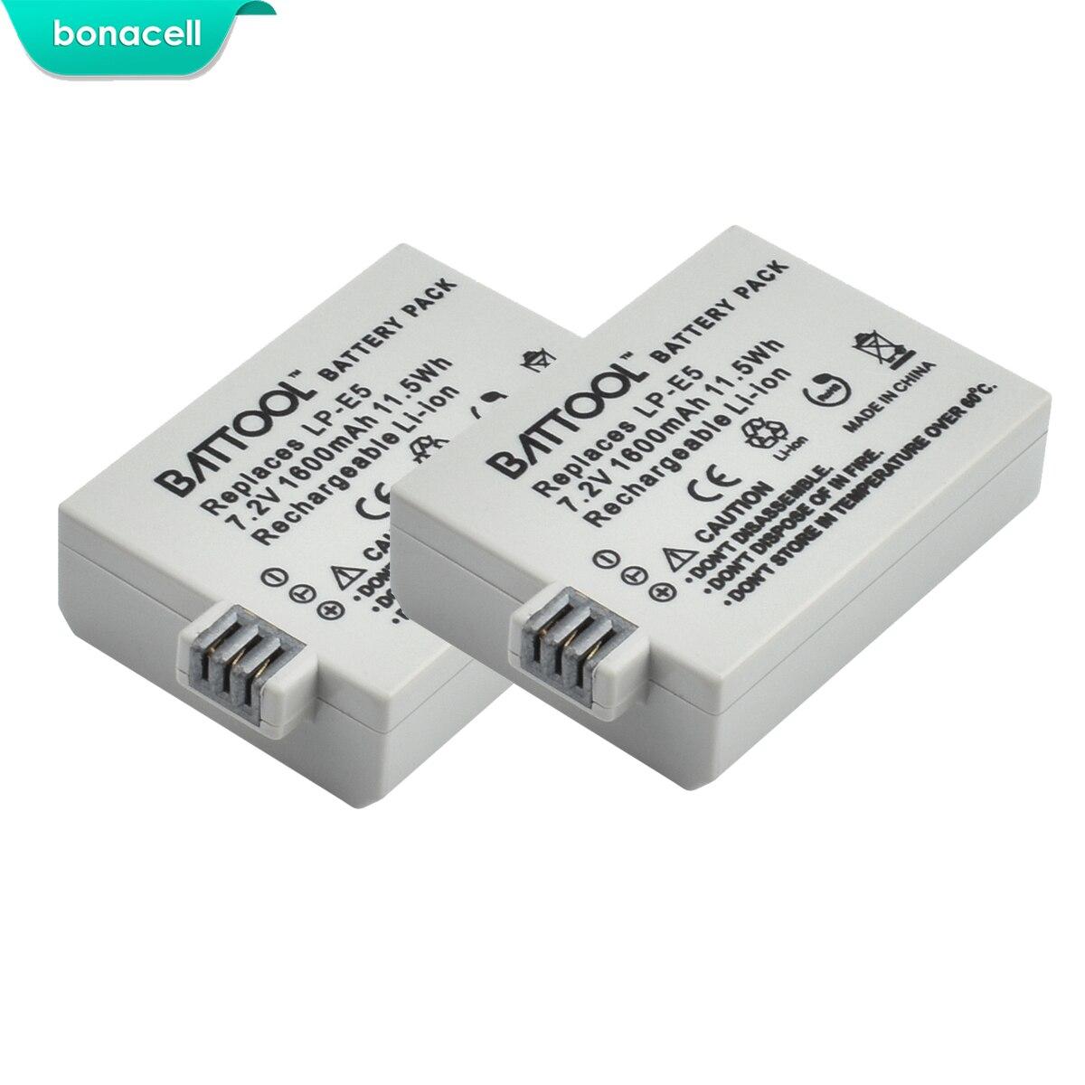 Bonacell 7.2V 1600mAh LP-E5 LPE5 LP E5 Camera Battery For Canon EOS EOS Rebel XS, Rebel T1i, Rebel XSi, 1000D, 500D,450D, L10
