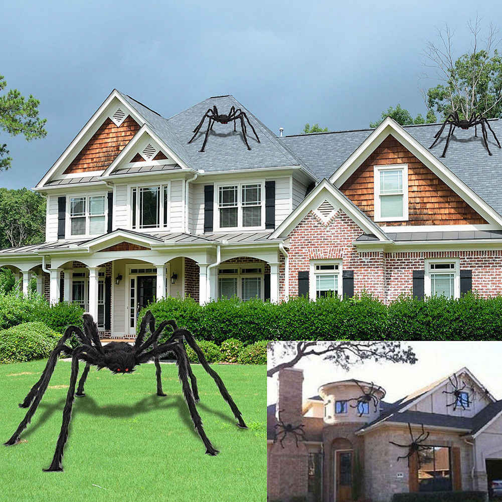 5FT/150cm Hairy Giant Spider Decoration Halloween Prop Haunted House Decor Party Holiday Spider Decorations