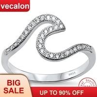 Vecalon уникальные ювелирные изделия настоящее Soild кольцо из стерлингового серебра 925 5A Циркон Cz обручение обручальное кольца для женщин сваде