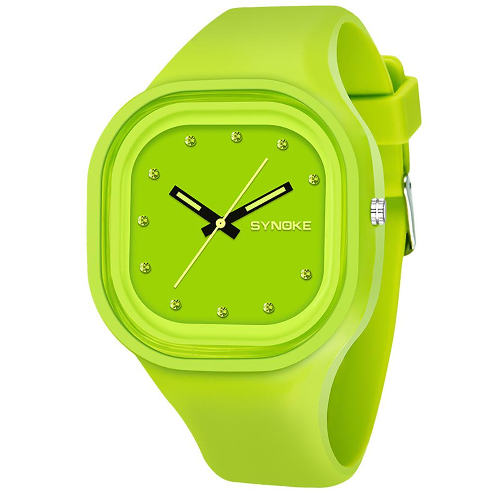 New Fashion Boy Girl Sports Square Dial Jelly Color Silicone Band Analog Quartz Wrist Watch