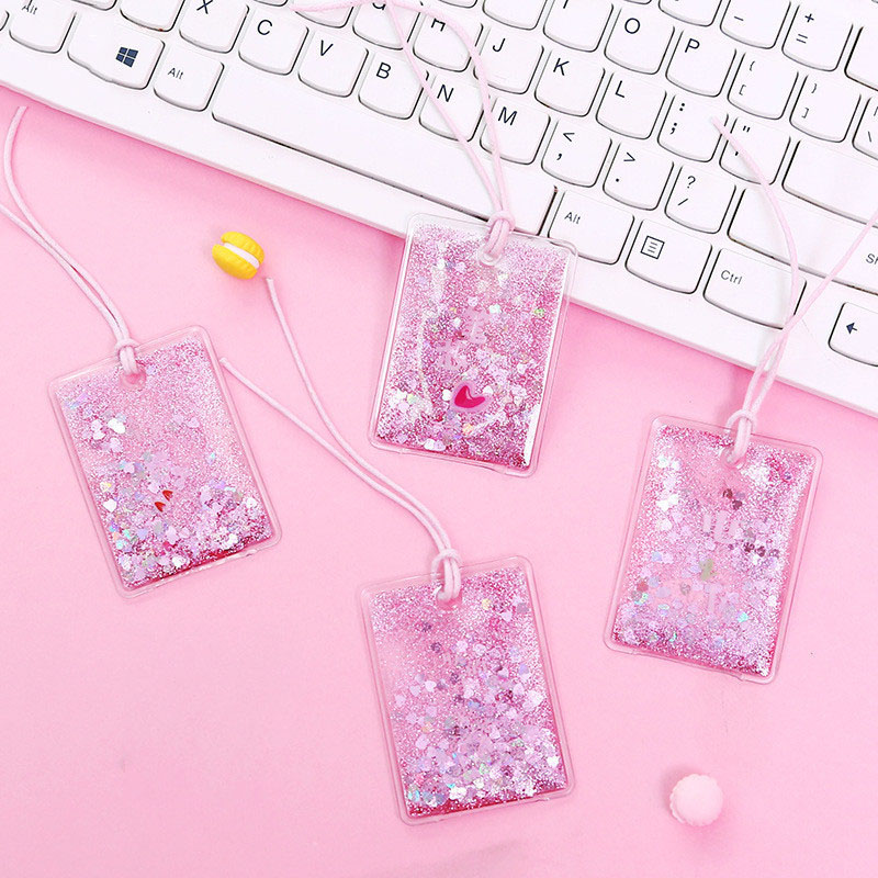 Newest Flowing Sequins Bookmark Creative Oil Giltter Pink Blue PVC Book Marks For Girls Gift  Korean Stationery School Supplies