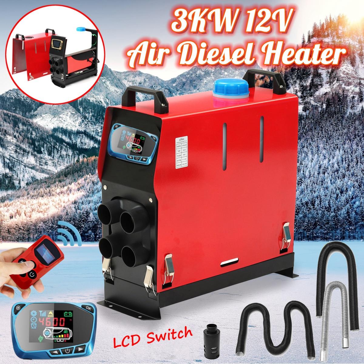 Tout En Un 3KW 12 v L'intégration 4 Trous Air Diesels réchauffeur d'air de stationnement LCD Écran Commutateur De Voiture Chauffe-Économie espace
