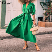 Celmia Women Long Shirt Dress 2019 Summer Sexy V Neck Buttons High Waist Belted Casual Elegant Party Maxi Vestidos Plus Size 5XL