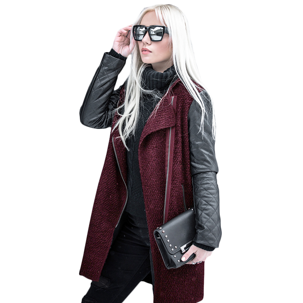 Collectie Hier Mode Vrouwen Patchwork Lange Wol Pu Leather Sleeve Jacket Coat Jassen Casual Overjassen Bovenkleding Streetwear