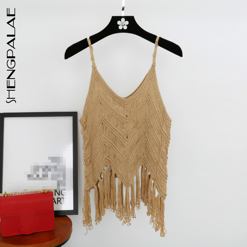 SHENGPALAE 2019 Spring Summer Knitted Women   Tank     Top   Sexy Spaghetti Strap Tassel Hollow Short   Tops   Clothes Fashion Korean New 73