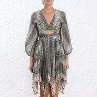 Сексуальное женское платье с принтом змеиной кожи 2019 летнее асимметричное платье с глубоким v образным вырезом и рукавами фонариками и откр