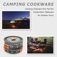 7pcs Camping Cookware Fork Pot Pan Combination Tableware for Outdoor Picnic Cooking System Stove Outdoor Cooker Burners