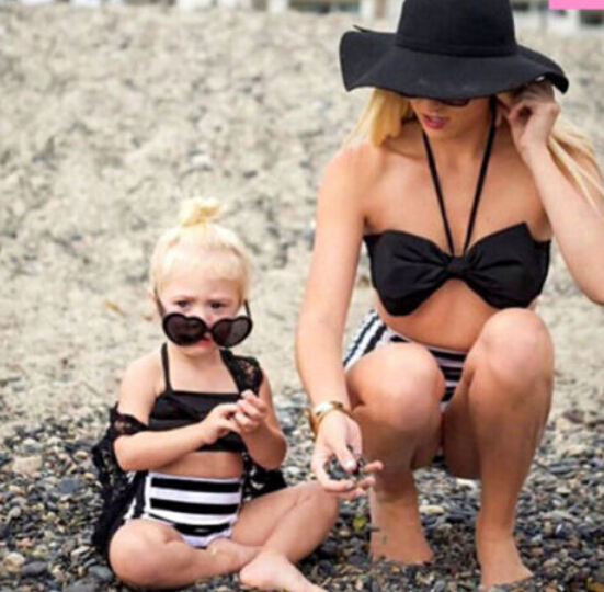 Sports & Entertainment Realistic Family Matching Women Kid Baby Girl Bowknot Bikini Set Halter Striped Swimwear Swimsuit Outfits Bathing Swimming Beachwear 2pcs Selected Material