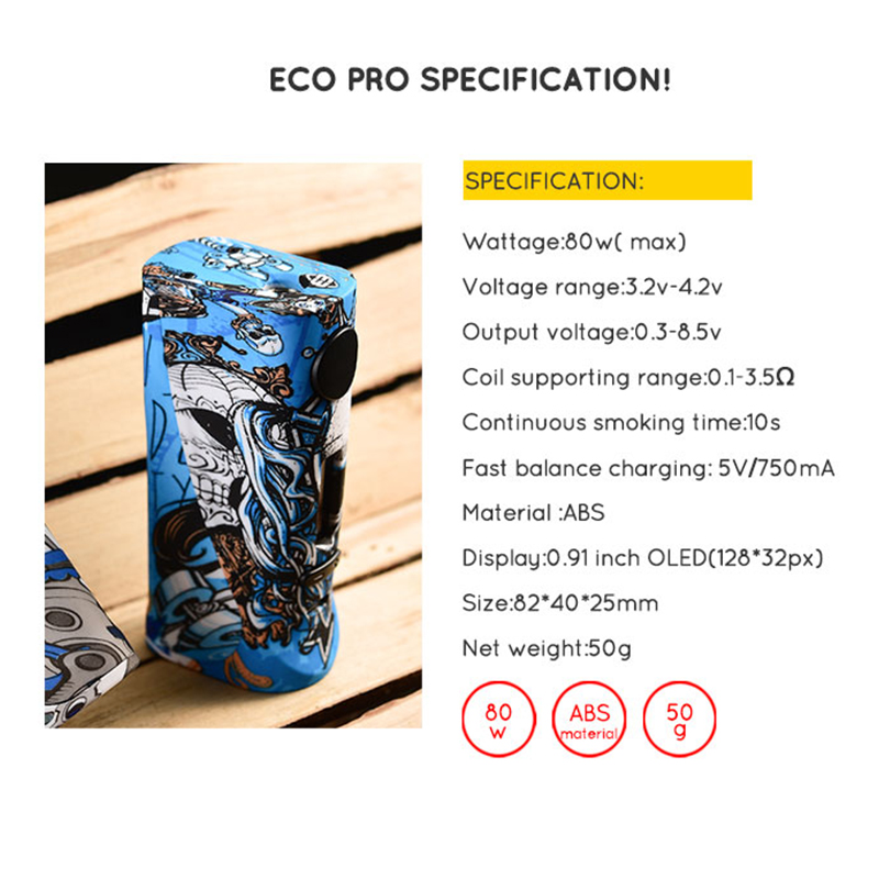Vapor Storm ECO Pro 80w RDA Electronic Cigarette Starter Kit Graffiti OLED Screen Without 18650 Battery Vape Mod Lion RDA Kits