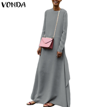 VONDA Women Dress 2019 Spring Casual Loose Polyester Big Swing Party Long Dresses Sexy O Neck Long Sleeve Plus Size Vestido