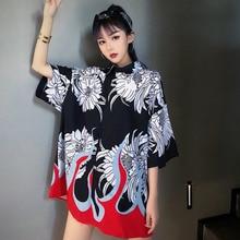 #4216 Summer Flame Printed Short Sleeve Shirt Men And Women Black Lapel Collar Oversize Loose Streetwear Blouse Femme Harajuku