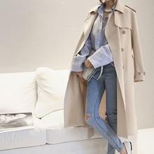 Korean Trench Coat Lady Spring Long Windbreaker Stylish Autumn Loose Outwear Clo