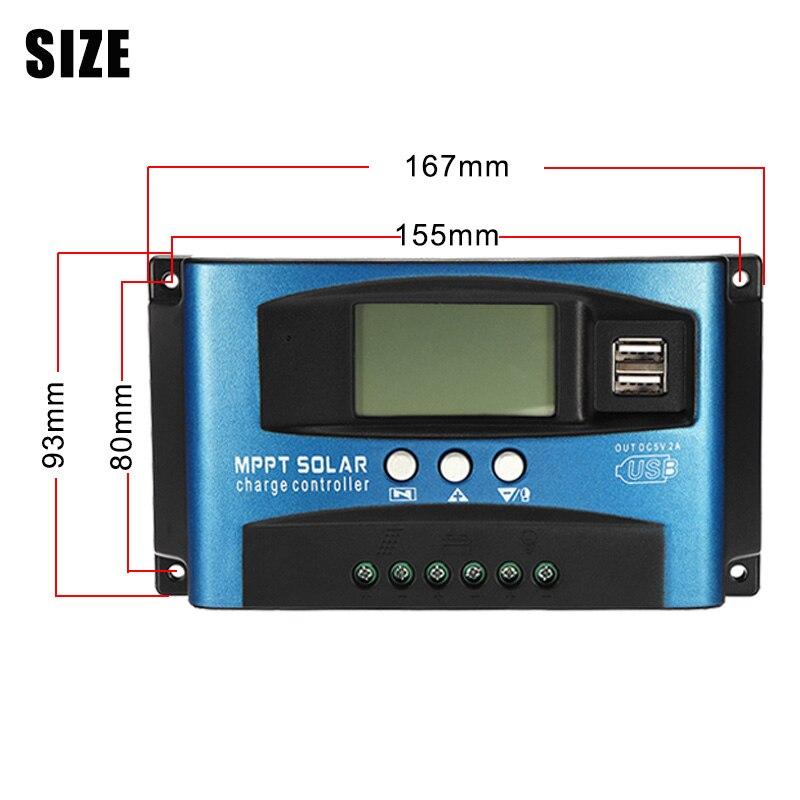 MPPT 30/40/50/60/100A Solar Laderegler Dual USB LCD Display 12V 24V Auto Solarzelle Panel Ladegerät Regler mit Last