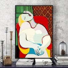 Picasso mujer leyó en la silla Vintage cartel impresiones pintura al óleo sobre lienzo murales artísticos para pared fotos para la sala de decoración