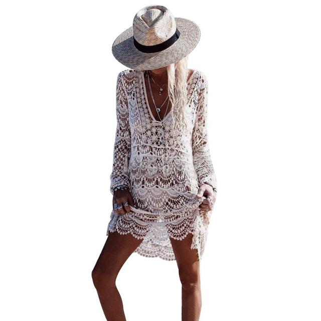 f8997752bb Women Beach Cover Up Crochet V Neck Hollow Out White Swimwear Dress Ladies Bathing  Suit Cover Ups Beach Tunic Saida De Praia-in Cover-Ups from Sports ...