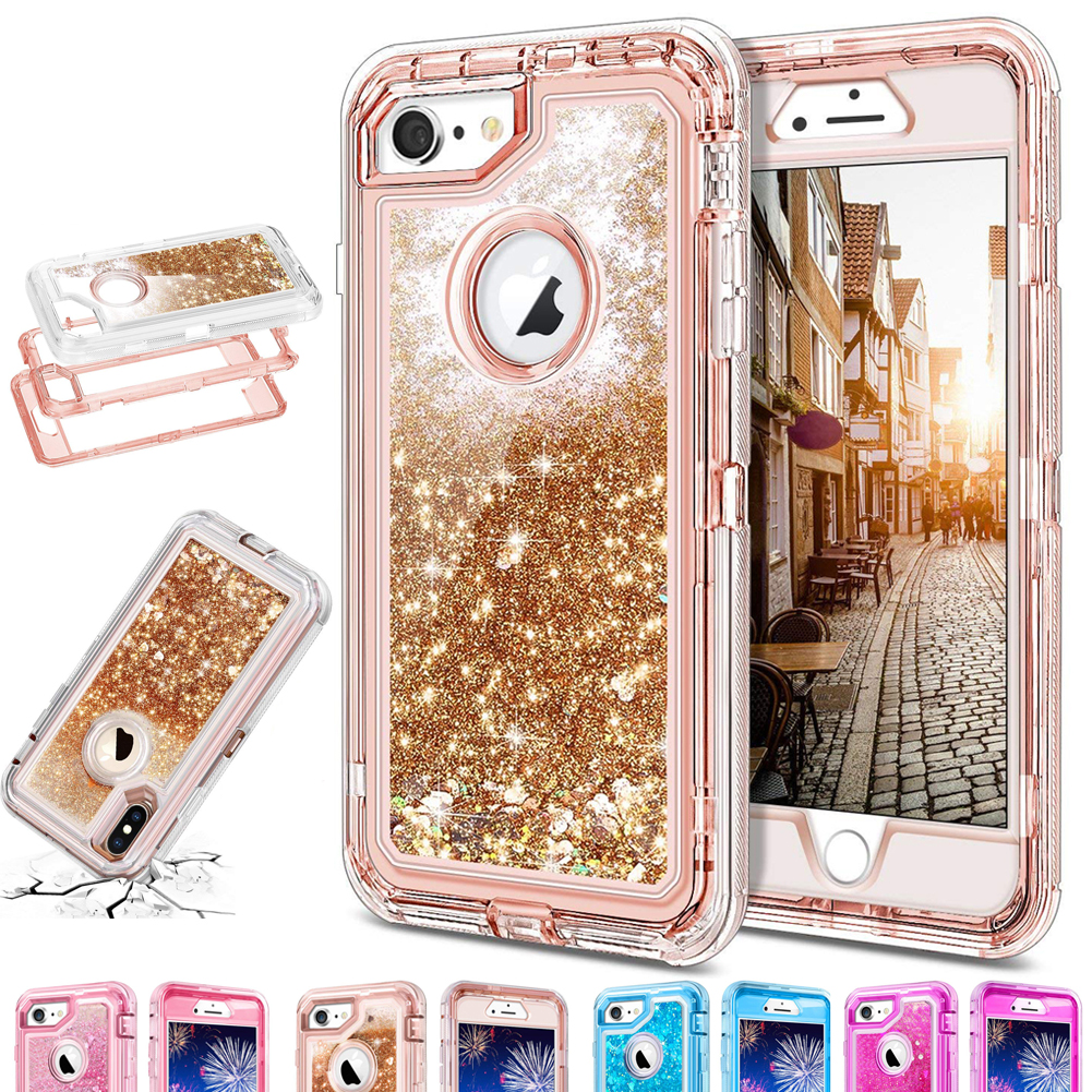 Hybrid 3D Glitter Armor Case for iPhone XS Max XR Dynamic Quicksand Shockproof Phone Covers for