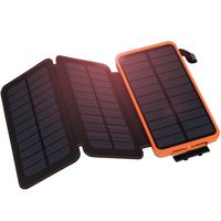 AKASO Solar Panel External Battery Charger 500000mAh Power Bank Solar Charger with 3 Premium Solar Panels For Cell Phone Tablets