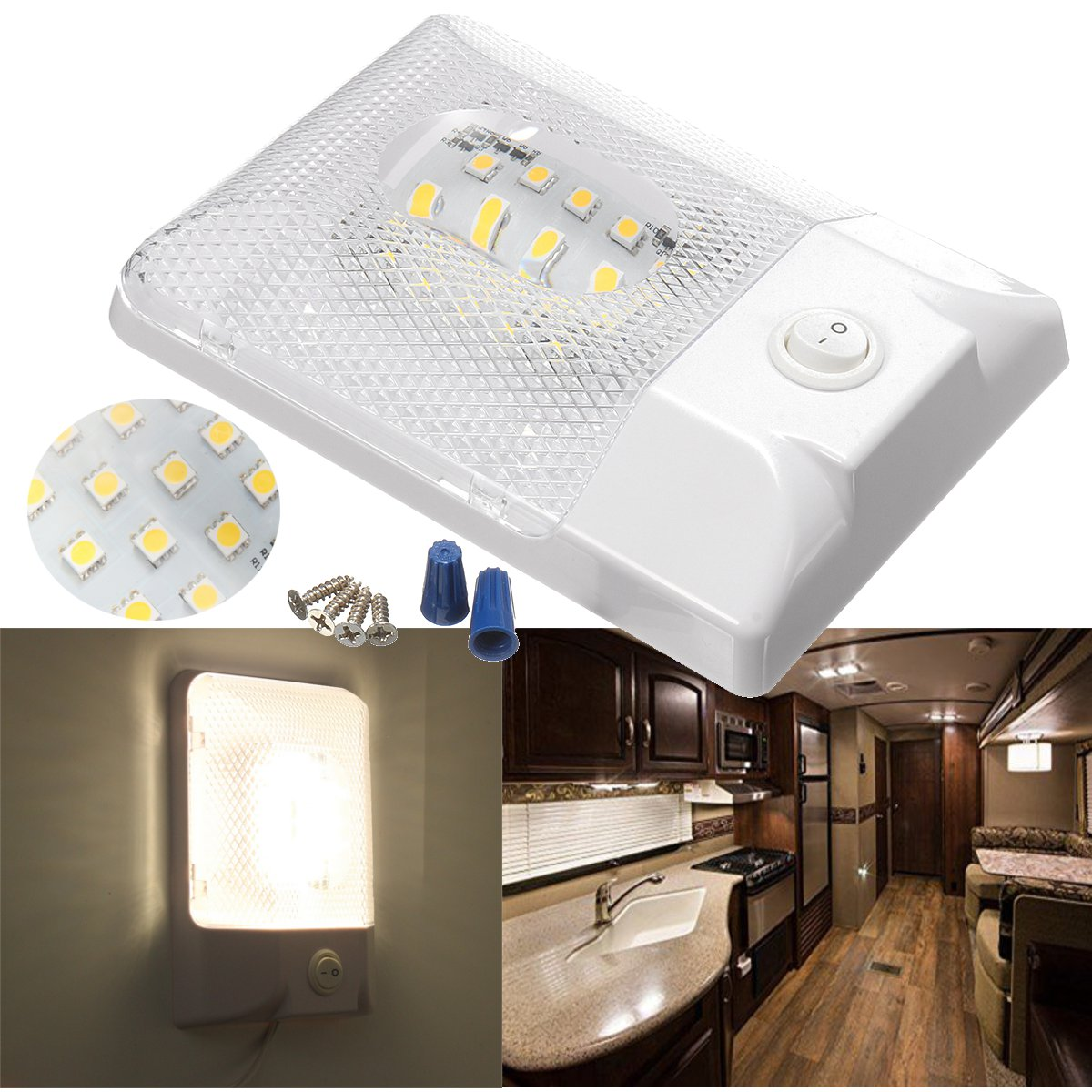 24LEDs Ceiling Light Interior Single Dome Ceiling Lights for RV Boat Camper Trailer