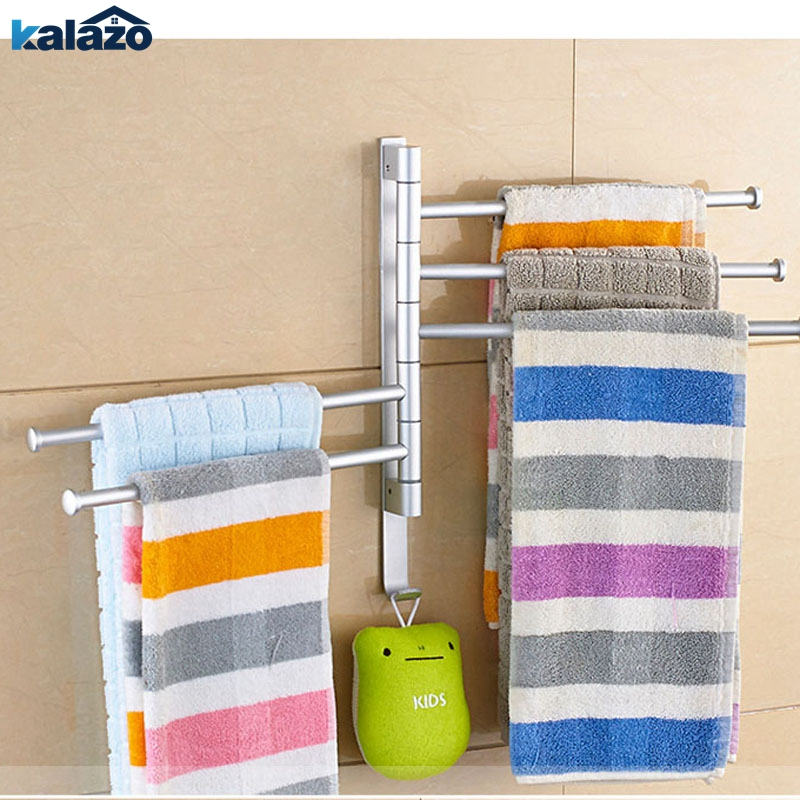 2/3/4/5 Rods Towel Bar Rotating Towel Rack Bathroom Kitchen Wall-mounted Towel Polished Rack Holder Hardware Accessory