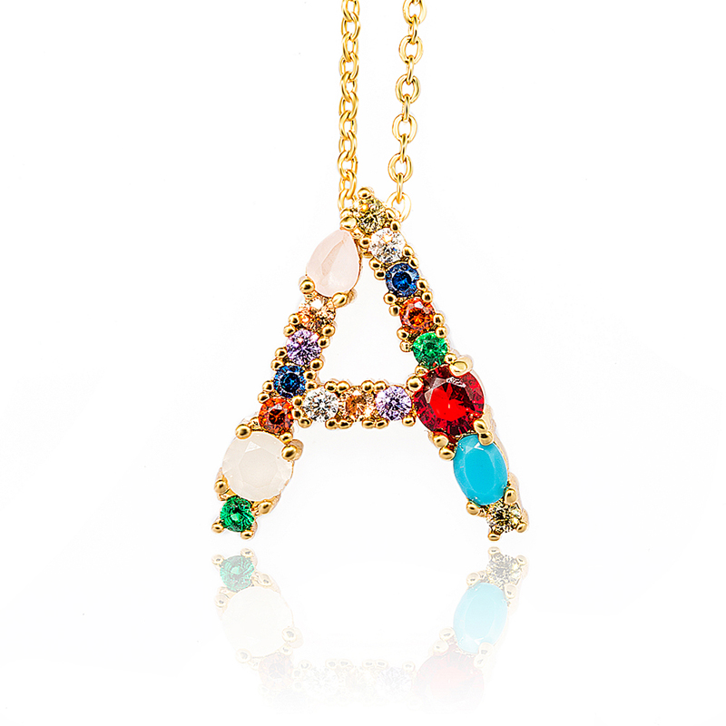 HPXmas Golden Necklace with Colorful Crystal Personalized 26 Letters Pendant women necklaces jewelry for Femals Gift A39 in Pendant Necklaces from Jewelry Accessories