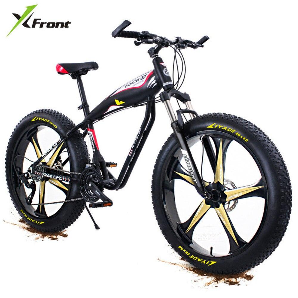 Nouveau x-front cadre en alliage d'aluminium 4.0 large gros pneu 27 vitesse huile frein à disque montagne neige plage vélo extérieur descente vélo