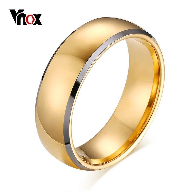 911aa8df35a8 Vnox elegante hombres 8 MM tungsteno carburo boda bandas anillo oro ...