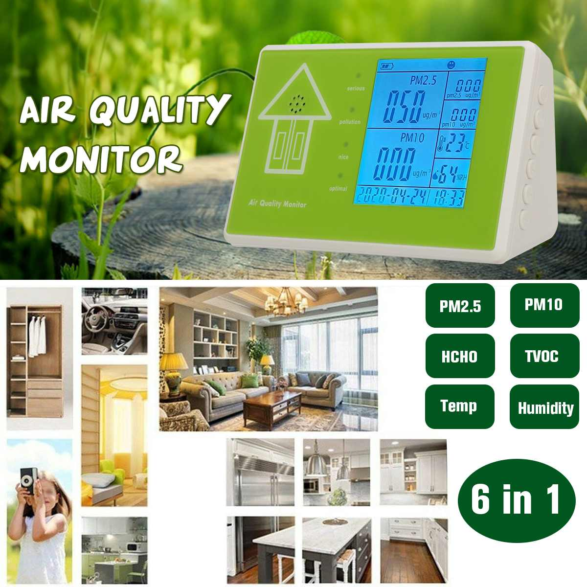 Digital Formaldehyde Detector Multifunctional Gas Analyzer Air Quality HCHO TVOC PM1.0 PM2.5 PM10 Monitor for Household CarDigital Formaldehyde Detector Multifunctional Gas Analyzer Air Quality HCHO TVOC PM1.0 PM2.5 PM10 Monitor for Household Car