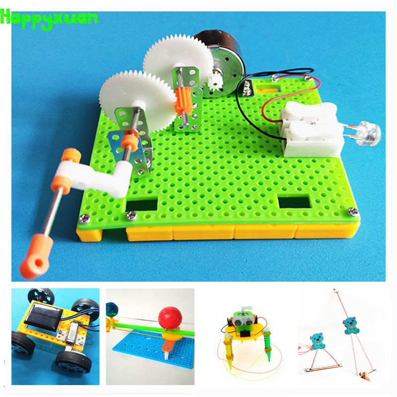 Happyxuan 5 Sets DIY Physical Kids Science Experiments Kit School Projects Robot Assemble Creative Toys For Boys Educational