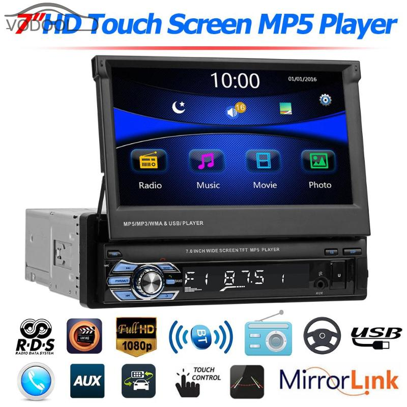 7 Folding Touch Screen 1Din Car Stereo MP5 Player RDS AM FM Radio Bluetooth 4.0 USB/TF/AUX Audio Video Player w/ Remote Control7 Folding Touch Screen 1Din Car Stereo MP5 Player RDS AM FM Radio Bluetooth 4.0 USB/TF/AUX Audio Video Player w/ Remote Control