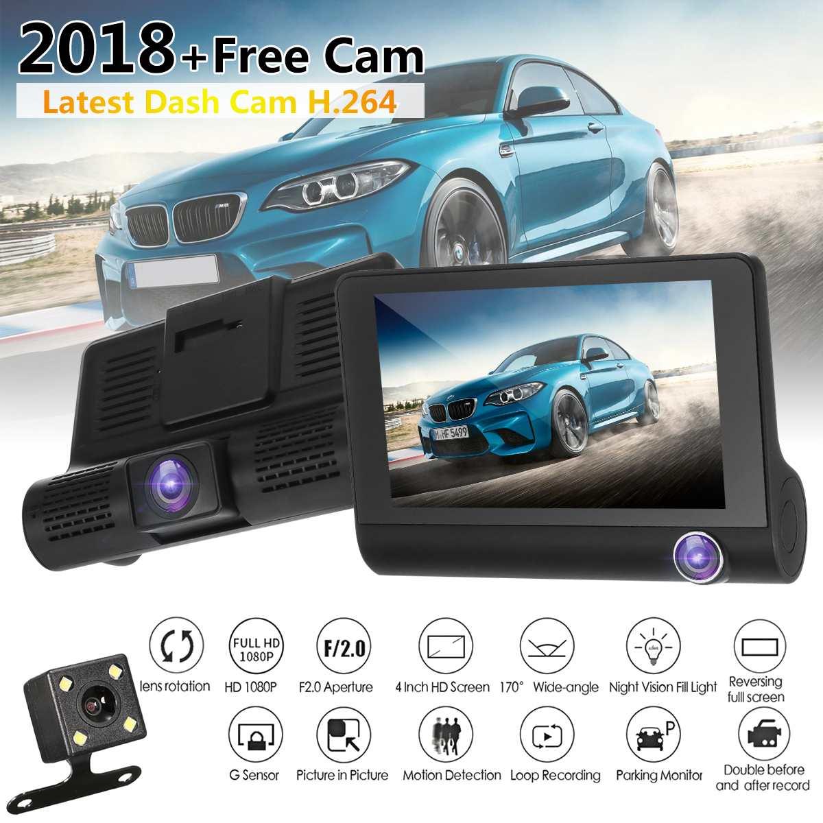 4.0'' 3 Way Car DVR Camera Video Recorder Rear View Auto Registrator Two Cameras Dash Cam DVRS Dual Lens Parking Monitors